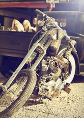 Yesterdaze... (Harleynik Rides Again.) Tags: chopper harley ford pickup retro springer bike motorcycle harleynikridesagain