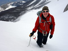 "Me in knee-deep snow halfway up the first snow couloir • <a style=""font-size:0.8em;"" href=""http://www.flickr.com/photos/41849531@N04/16759816434/"" target=""_blank"">View on Flickr</a>"