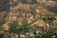 Thimphu (Bhutan)-Tall vertical white praying flags to guide the souls of dead people