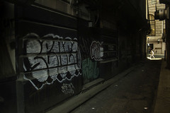 Wandering Behind (phillytrax) Tags: city urban usa streetart philadelphia america graffiti alley unitedstates pennsylvania centercity pa alleyway vandalism metropolis philly metropolitan taggin 215 sidestreet gayborhood cityofbrotherlylove downtownphilly