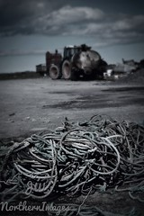 Tomorrows job, sort the rope. (JW Northern Images) Tags: blackandwhite white tractor black nikon farm rope agriculture caithness thurso