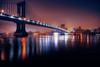 The Manhattan Bridge (mudpig) Tags: nyc newyorkcity fog skyline brooklyn night cityscape manhattanbridge eastriver hdr mudpig stevenkelley