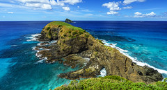 Muttonbird Point panorama (NettyA) Tags: ocean blue sea panorama water birds rocks pano australia lookout cliffs clear filter nsw day8 unescoworldheritage lordhoweisland 2016 polarizing lhi maskedboobies muttonbirdpoint sonya7r janetteasche lordhoweforclimate