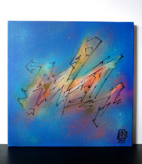 SPRAY + MARKER ON CANVAS - 40x40cm - 2016 (adel_one2wh) Tags: blue orange abstract art colors lines illustration painting graffiti design artwork graphic handmade drawing interior letters style canvas handpainted marker lettering multicolor graffitiart mixmedia montanacans graffuturism