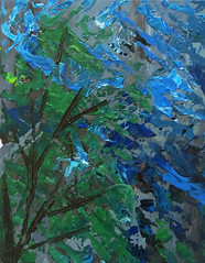 "Sky through the Trees - 11""x14"" (KristinVictoria) Tags: blue original trees sky white abstract black detail tree green art texture leaves triangles painting landscape grey evening paint artist acrylic emotion artistic earth teal painted details gray sienna blues stroke brush burnt greens brushes medium swirl swirls through organic etsy tones greys teals grays abstracted expressing arcylic"
