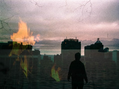 burning sinking watching feeling (cara zimmerman) Tags: city chicago film silhouette fire watching burning sinking tripleexposure