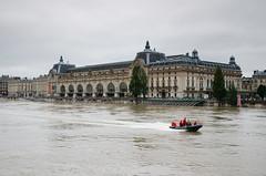 Paris flooding 2016 (Dominique ALLAIN) Tags: paris flooding crue seineriver laseine musedorsay france 2016 nikon d7000 1685mmf3556gvr pompiersdeparis firebrigade firedept boat inondations sapeurspompiersdeparis