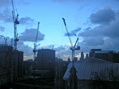 Maughan Library view (Gary Kinsman) Tags: kingscollegelondon maughanlibrary kcl 2006 london chancerylane wc2 cityoflondon tower highrise officeblock studyroom cloud dark stormbrewing skyline cityscape architecture cranes newstreetsquare