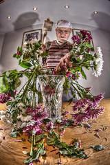 GET IN THE VASE!! (D-W-J-S) Tags: flowers flower fisheye tokina montypython dp python mallet arrangement hdr monty gumby flowerarrangement arranging 1017mm