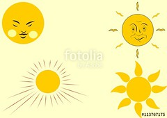 four yellow sun clipart vector image poster (InfraSunete) Tags: sun clipart vector sunt retro vintage yellow four graphic flat