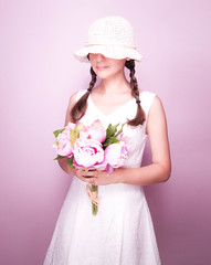 Summer Girl (www.Michie.ru) Tags: pink summer woman white flower girl hat longhair pinkflower summerdress moldova moldovan whitedress whitehat         japanesephotographer   michieru