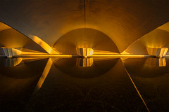 Alcove Ablaze (David Guidas) Tags: park sunset orange water fountain reflections underpass three pittsburgh fort arches walkway rivers fujifilm pitt xpro2 xf14mm