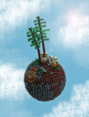 Peace (Magma guy) Tags: trees fiction giant big lego surrealism space science fantasy sphere planet scifi lowell 14x14