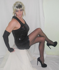 Feeling gurrly (queen.catch) Tags: girly makeup tights skirt tranny transvestite heels pantyhose shemale