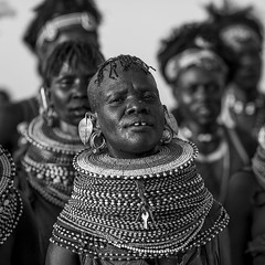 Turkana Tribe Women With Huge Necklaces, Turkana Lake, Loiyangalani, Kenya (Eric Lafforgue) Tags: africa portrait people blackandwhite woman beauty fashion proud square photography necklace women day adult kenya african decoration earring culture pride jewelry tribal piercing jewellery ornament bead tribe ethnic groupofpeople adultsonly ornement ethnology kenyan eastafrica rift traditionalclothing realpeople turkana ruralscene personalaccessory oneyoungwomanonly nonurbanscene pastoralist indigenousculture loiyangalani onlywomen turkanalake nomadicpeople northkenya ethnicjewel kenya201401880