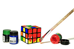 how to solve a rubik's cube (brescia, italy) (bloodybee) Tags: stilllife colors fun paint geometry humor science brush cube mathematics maths cheat rubikscube 365project