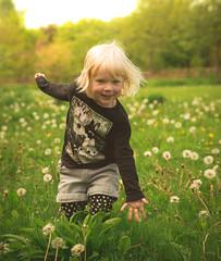 Dandelions and smiles (Greggybread) Tags: flowers portrait playing sunshine rain fun amazing princess smiles wellies dandelions photooftheday ranicoat