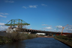 Mersey Gateway under construction (Barry Miller _ Bazz) Tags: bridge canon lens canal site construction crane cranes 300mm gateway 5d f28 mersey roadway runcorn widnes halton mark2 f4l ef40mm