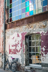 Bike at the factory (neus_oliver) Tags: street old windows abandoned window colors bike germany photography colorful europe factory painted picture streetphotography backstreet walls derelict mnster