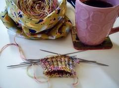 The wee beginnings... (andigal01) Tags: socks knitting tea