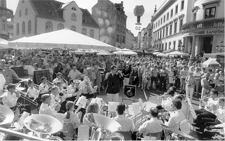 Playing to a large crowd of German Wine Tasters