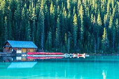 Boat House (Anne Oldfield) Tags: blue trees lake canada water relax fun outdoors kayak quiet peaceful canoe alberta lakelouise boathouse chill tranquil