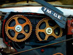 The time has arrived (Joe Folino ( LoopRunner )) Tags: 3 rot belt mark iii toyota junkyard scrapyard straight cogs six relic supra timing 7mge