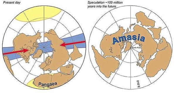 Ảnh minh hoạ châu Á đang tiến gần châu Mỹ hình thành lục địa mới