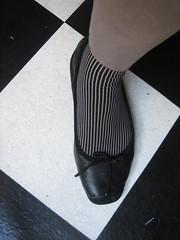 B&W variation (Ladybadtiming) Tags: bw foot shoe ballerina sock flat stripes checkered girlie requins shoefreak chantalthomas