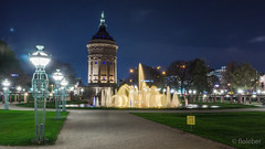 Water tower Mannheim (floleber) Tags: architecture night germany nacht brunnen watertower landmark mannheim wasserturm
