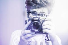 Self Portrait. (Francesco Alemanno) Tags: camera portrait monochrome self reflections 50mm lights mirror eyes nikon bokeh pov f14 pointofview cc eyeglasses selfie inspirations d7000