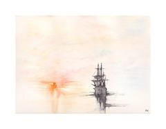 Le dpart de l'Hermione (Yvan LEMEUR) Tags: sea mer soleil marine aquarelle peinture watercolour acuarela bateau voilier hermione coucherdesoleil marinevoile