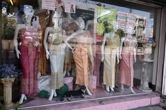 reflections, wedding dresses, and a dog (the foreign photographer - ) Tags: road wedding dog window shop reflections thailand bangkok sony traditional dresses thai bangkhen rx100 phahoyolthin dscmay132016sony
