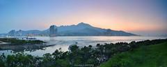 () (szintzhen) Tags: sunset sky mountain water taiwan photomerge      tamsui     zhuwei  newtaipeicity