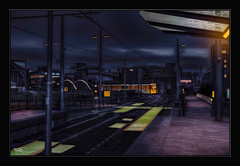 Train Home, Deansgate Stn (Kevin From Manchester) Tags: england building architecture manchester northwest tracks lancashire trams citycentre hdr manchestercity canon1855mm railwaylines plantform kevinwalker canon1100d