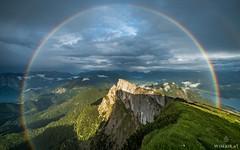 Three Quarter (Wim Air) Tags: rainbow alps mountain austria rain sundown wimairat wimair schafberg rock