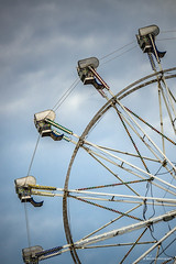 Clouds at the Faire (Jae at Wits End) Tags: blue sky abstract lines wheel clouds circle pattern arc machine objects fair line ring round ferriswheel curve shape rim circular
