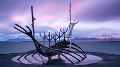 Slfar (danielharms) Tags: longexposure travel sunset sculpture art clouds iceland nikon reykjavik bluehour nikkor