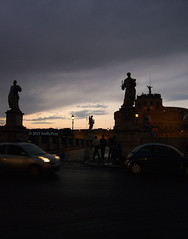 Rome(ing) Through The Gloaming (Art By Pem Photography: Tao Of The Wandering Eye) Tags: city travel sky italy rome roma history silhouette statue architecture clouds lumix evening europa europe italia silhouettes eu panasonic hadrian castelsantangelo fineartphotography gloaming antiquity mausoleumofhadrian emperorhadrian scenicsnotjustlandscapes dmcfz28