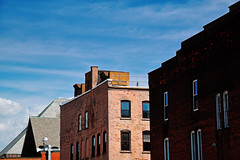 Rooflines No. 2 (Geoffrey Coelho Photography) Tags: city windows roof sky urban building brick colors up architecture clouds buildings exterior rooftops massachusetts vivid architectural berkshires pittsfield berkshirecounty
