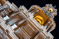 "The Basilica Cathedral of Arequipa ""Baslica Catedral"" Illuminated in Night, Arequipa, Peru (takasphoto.com) Tags: 35mm america americas americadelsur andean andeancities andes andesmountains arequipa arequipacity cropsensor d5000 earth highlands incaempire laciudadblanca lens nikkor nikkor35mmf18gafsdxlens nikon nikond5000 patrimoinemondial patrimoniodelahumanidad peru peru piruw precolumbianamerica primelens quechua republicofperu republicadelperu southamerica southernhemisphere theromeofamerica thewhitecity transportation travel travelphotography trip unesco unescoworldheritagesite unesco vacation viagem viaje westernhemisphere world worldheritagesite f18                        night architecture noche"