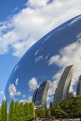 Living In A Bubble... (Ring of Fire Hot Sauce 1) Tags: chicago reflection clouds bluesky bean milleniumpark cloudgate