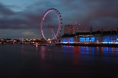 London Eye (Sarah Marston) Tags: reflection london westminster june thames night lights sony londoneye alpha riverthames countyhall 2016 a65