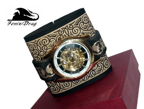 """Wide bracelet cuff beangle """"Bayern"""" genuine leather brown, mechanical watch and a gold pattern Steampunk, Victorian, Vintage style jewelry"""