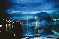 Delusion (Louis Dazy) Tags: blue boy sky woman man paris film water seine youth night clouds analog 35mm photography la exposure dream double