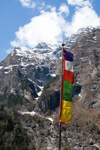Prayer flag and mountain
