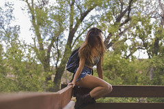 backpack (Ben Garcia Photography) Tags: trees light red house tree cute nature beautiful rock canon hair scenery long natural hiking sony alexia hike treehouse adventure trail brunette redrock 6d a6000