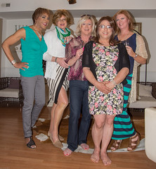 Five Fast Friends! (kaceycd) Tags: highheels pants top sandals s blouse tgirl jeans crossdress spandex lycra tg wedges ruched opentoesandals shirred sexyheels peeptoesandals