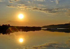 Ohio River Sunset (refmo) Tags: ohio sky sun reflection river boat tugboat tow barge refmo