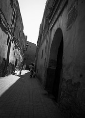 Morroco (leemclean94) Tags: africa blackandwhite bw lines architecture fuji shadows streetphotography el arabic morocco marrakech leading fna jemaa arabicarchitecture